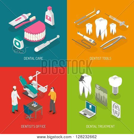 Dentist care concept 4 isometric icons square with teeth decay prevention and treatment abstract isolated vector illustration