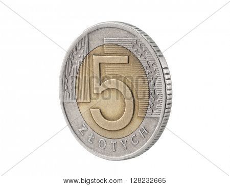 Five Polish Zloty coin isolated on white with clipping path