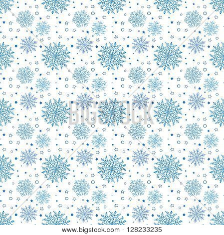 Winter vector pattern with small and big snowflakes. Seamless abstract pattern with blue snowflakes. Nice light blue snowflakes. Pattern with snowfall. Pattern with blue snowflakes