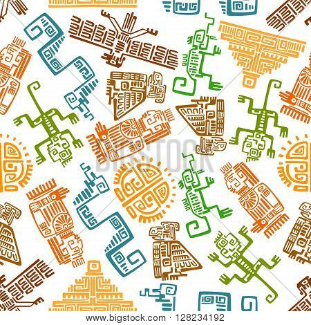 Ethnic ancient mexican seamless pattern with mayan and aztec ornamental totems of sun, pyramid, eagle, raven, monkey, snake, lizard and idol over white background. Use as interior textile, wallpaper or history backdrop design usage