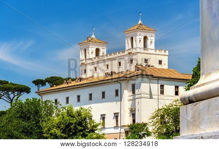 View of the Villa Medici in Rome - Italy
