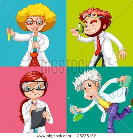 Four scientists doing experiments illustration