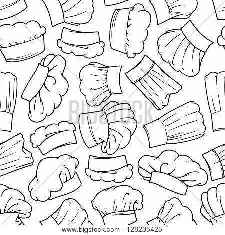 Vintage chef toques seamless background with sketch pattern of lush draped cook hats. Restaurant menu flyleaf or kitchen interior accessories design usage