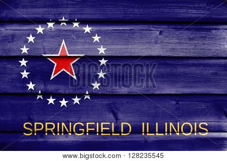 Flag Of Springfield, Illinois, Painted On Old Wood Plank Background