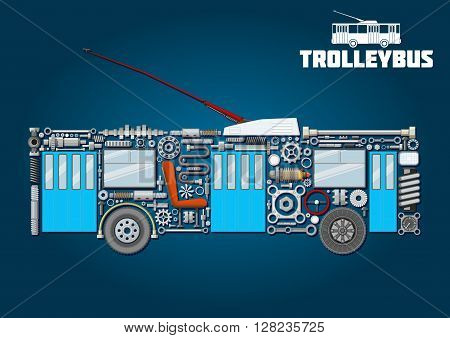 Electric trolleybus mechanical silhouette icon of detailed main components and parts with boarding and exit doors, trolley poles with base in shroud, windows, seat, steering wheel, wheels, crankshafts, axles, bearings, pressure hoses, gauges, headlight an