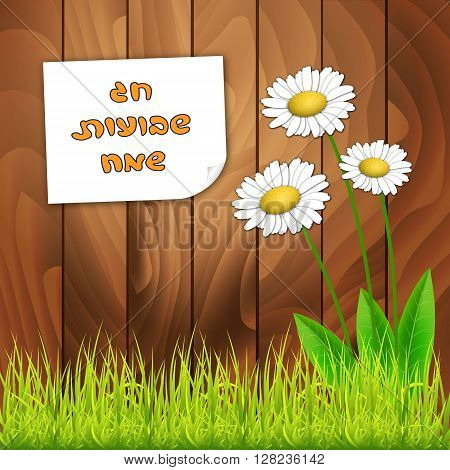 Shavuot card template background. Happy Shavuot in hebrew. Vector illustration