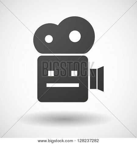Isolated Cinema Camera Icon With A Emotionless Text Face