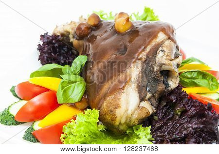 roasted pork knuckle with vegetables Gammon, Germany,
