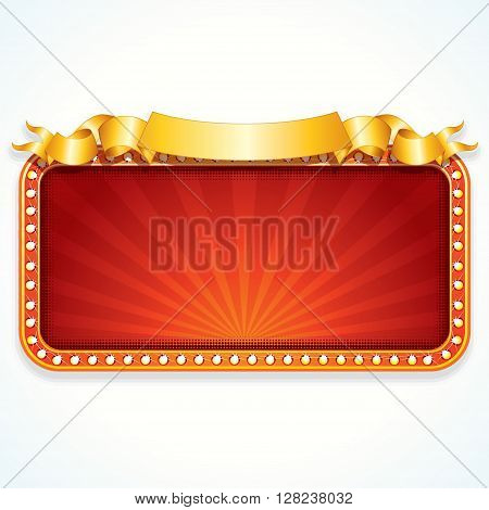 Theater Marquee. Luxury Vector Sign Ready for Your Text and Design.