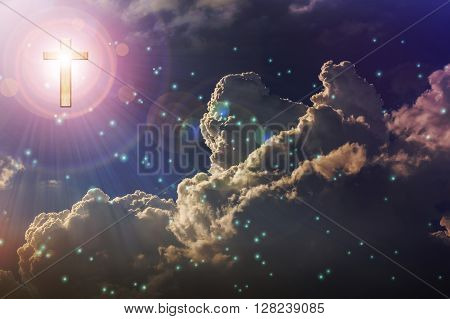 Light Expel Darkness Concept Background, Light From Sky Or Heaven Shine From Crucifix