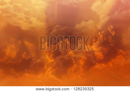 Beautiful Dreamy Colourful Orange Gold Sky With Puffy White Clouds