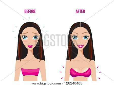 Before and After breast augmentation with silicon implants Happy woman Vector illustration