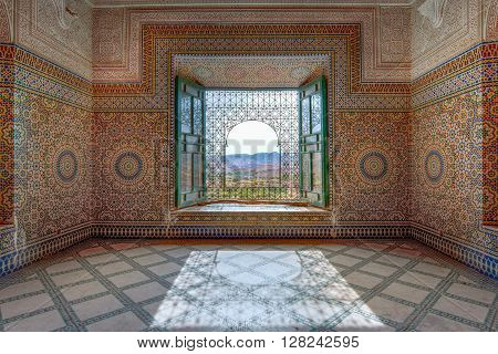 TELOUET, MOROCCO - OCTOBER 22, 2015: Interior view the Kasbah of Glaoui in Telouet Morocco.