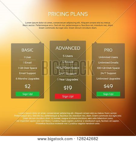 Colorful vector pricing table with three plans for your website and aplications