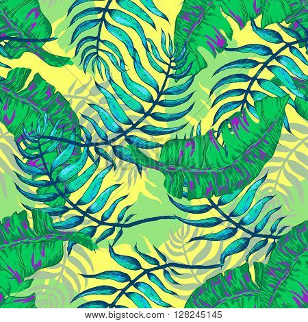 Vector Illustration of tropical Flowers and Palm in Sketch Style for Design, Website, Background, Banner. Doodle Summer Plant Element Template in color. Beach Botany Seamless Pattern Popart