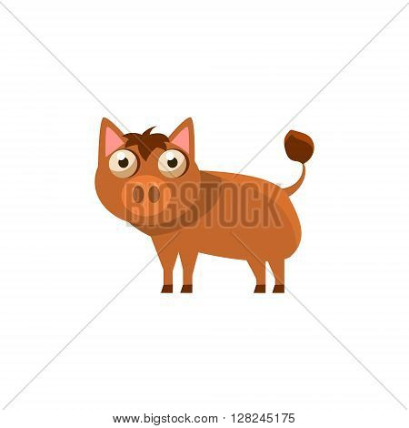 Boar Simplified Cute Illustration In Childish Flat Vector Design Isolated On White Background