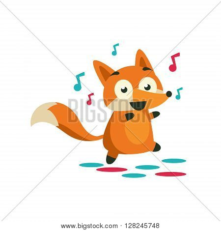 Fox On The Dancefloor Adorable Cartoon Style Flat Vector Illustration Isolated On White Background