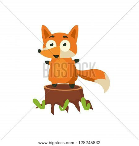 Fox Standing On Stump Adorable Cartoon Style Flat Vector Illustration Isolated On White Background