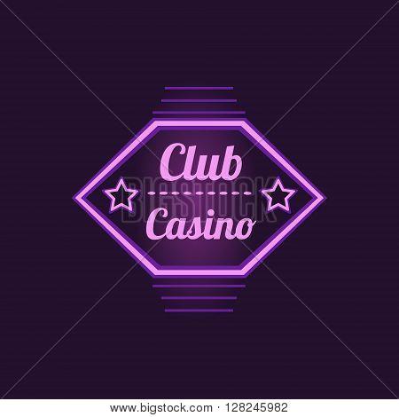 Club Casino Purple Neon Sign Las Vegas Style Illumination Bright Color Vector Design Sticker
