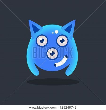 Blue Alien With Pointy Ears Cute Childish Flat Vector Bright Color Drawing Isolated On Dark Background