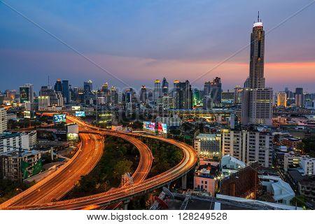 Bangkok Rooftop At Dusk