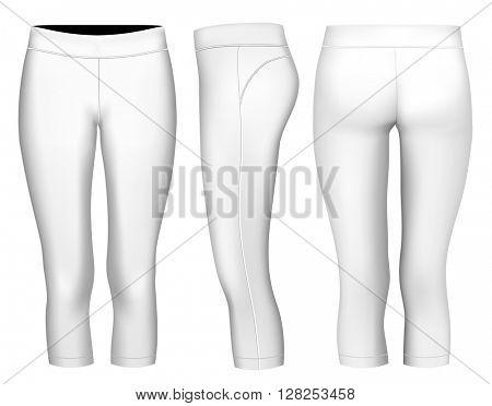 Women's 3/4 long tights.  Fully editable handmade mesh. Vector illustration.