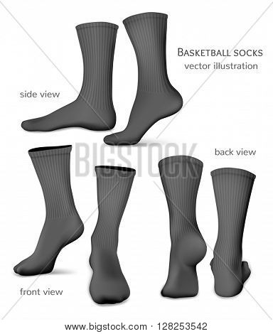 Basketball socks. Fully editable handmade mesh. Vector illustration.