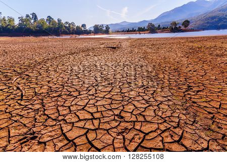 Global warming concept. drought cracked desert landscape