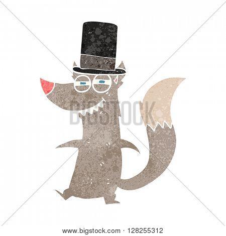 freehand retro cartoon little wealthy wolf
