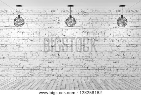 Three Lamps Over Brick Wall 3D Rendering