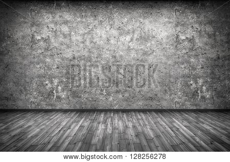 Concrete Wall And Wooden Floor Background 3D Rendering