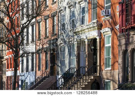 Buildings along Tompkins Square Park in Manhattan New York City
