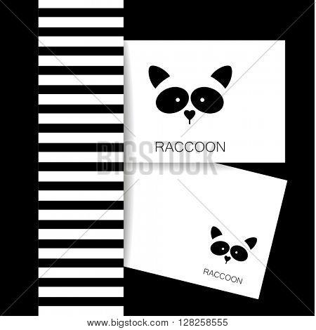 Raccoon logo. Isolated raccoon head on white background. Raccoon identity presentation template. Raccoon mascot idea for logo, emblem, symbol, icon. Vector illustration.