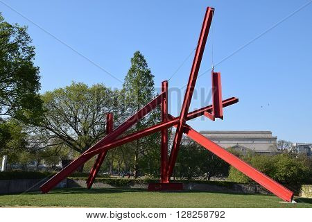 WASHINGTON, DC - APR 16: Are Years What sculpture by Mark di Suvero at the Hirshhorn Sculpture Garden in Washington, DC, on April 16, 2016. In 2013, the Sculpture Garden drew 645,000 visitors.