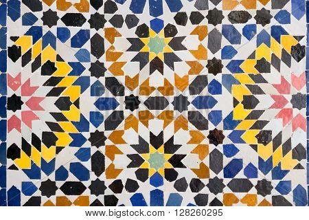 Close up of Arabic mosaic in Marrakech Morocco