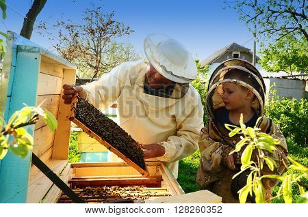 Beekeeper Grandfather And Grandson Examine A Hive Of Bees