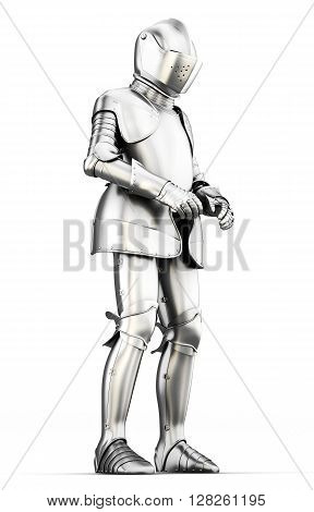 Suit of armor for all body isolated on white background. Metal armor. Medieval armor. 3d render image