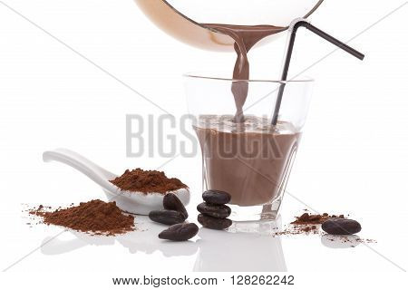 Cocoa drink beans and powder isolated on white background. Culinary cocoa drinking