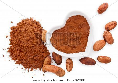 Cocoa beans and cocoa powder on white background flat lay. Healthy superfood.