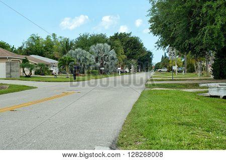 Residential Side Street In  Bonita Shores Florida