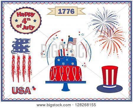 Fourth of July clip art with fireworks, cake, stylized flag and more. Eps10