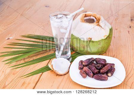 Coconut Juice, Dates Simple Iftar Break Fast Food During Ramadan