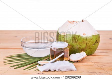 Natural coconut juice with raw honey are natural toner to reduce face acne and smoother facial skin. poster