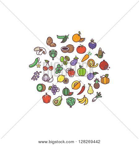 Fruit and vegetables organic flat icons in circle design. Avocado vegetable, fruit gooseberry, vegetable and fruit sign, vegetable and fruit vector illustration