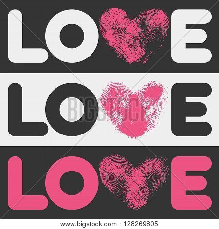 Simple flat LOVE design. Conceptual poster with love logo template in 3 different color combinations. Linear text shapes and letter V in fingerprint heart form. Love Logo for romantic, wedding design