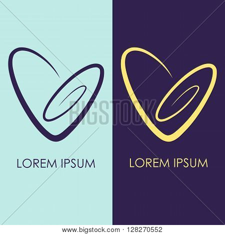 Set of 2 spiral Heart Logo. Simple clear linear icon. Vector logotype in two color combinations. Yellow, blue and violet. Love logo template for romantic or wedding design
