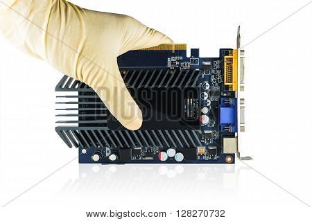 Video card in hand on white background Computer VGA Card