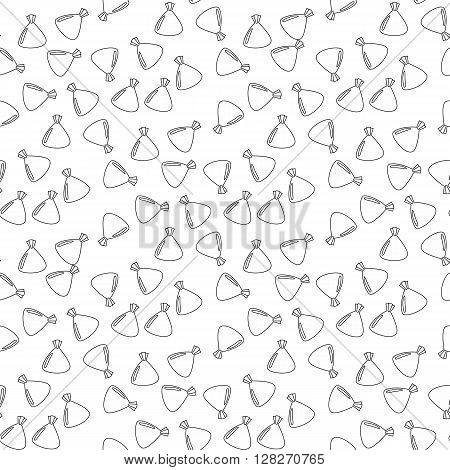 Seamless pattern with chocolates truffles in wrapper black and white drawing.