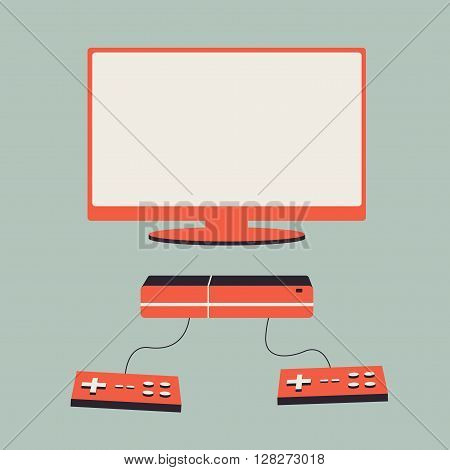 Game console. Vector flat illustration. Material design. Game station. Vacation with game console. Retro design