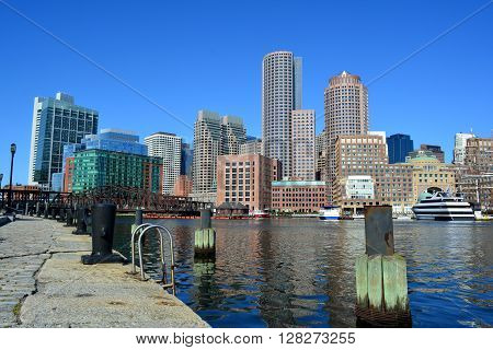 Downtown Boston skyline along the harbor front.